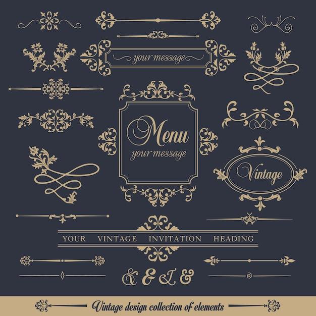 Design collectie van sier vintage stijl Gratis Vector