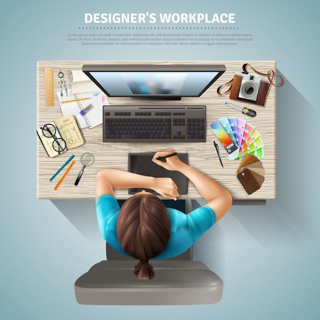 Designer bovenaanzicht illustratie Gratis Vector