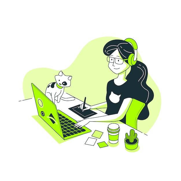 Designer meisje concept illustratie Gratis Vector