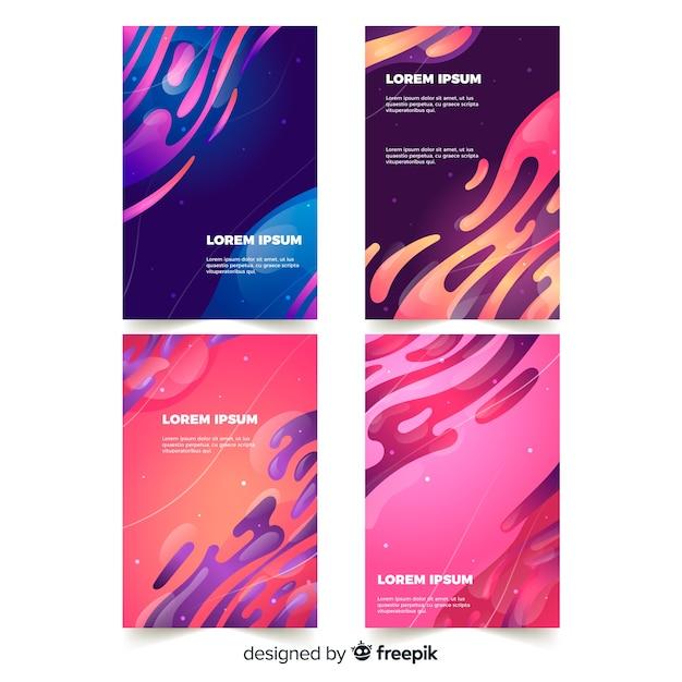 Designhoezen met kleurrijk vloeibaar effect Gratis Vector