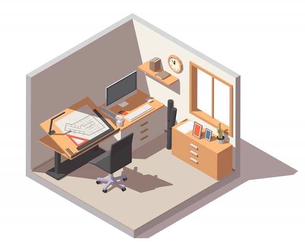 Designstudio met verstelbaar bureau, stoel en laden Premium Vector