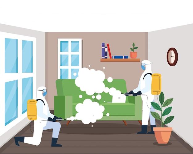 Desinfectie thuis door commerciële desinfectieservice, groep desinfectiewerkers met beschermend pak en spray voorkomen covid 19 Premium Vector