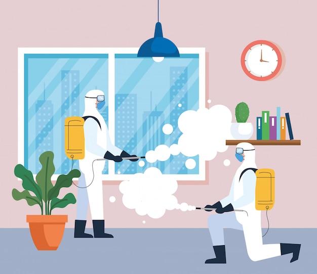 Desinfectie thuis door commerciële desinfectieservice, ontsmettingsmedewerkers met beschermend pak Premium Vector