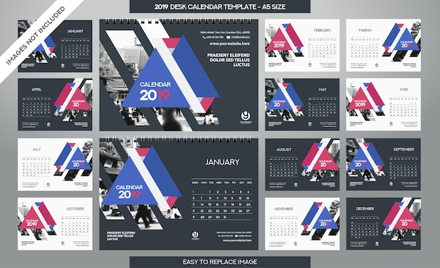 Desk calendar 2019-sjabloon Premium Vector