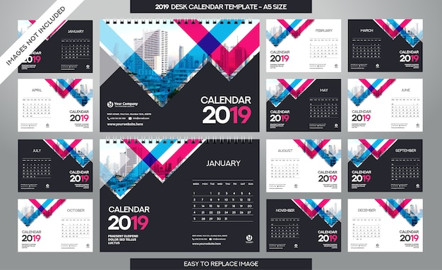 Desk calendar 2019-sjabloon Premium Vector