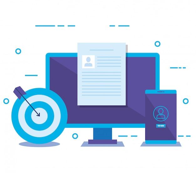 Desktop met sociale media marketing pictogrammen Gratis Vector