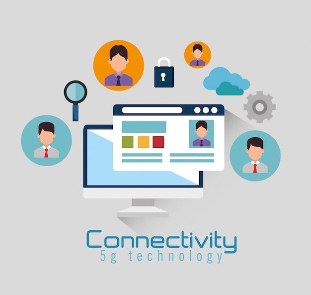 Desktopcomputer met connectiviteit 5g tech Gratis Vector