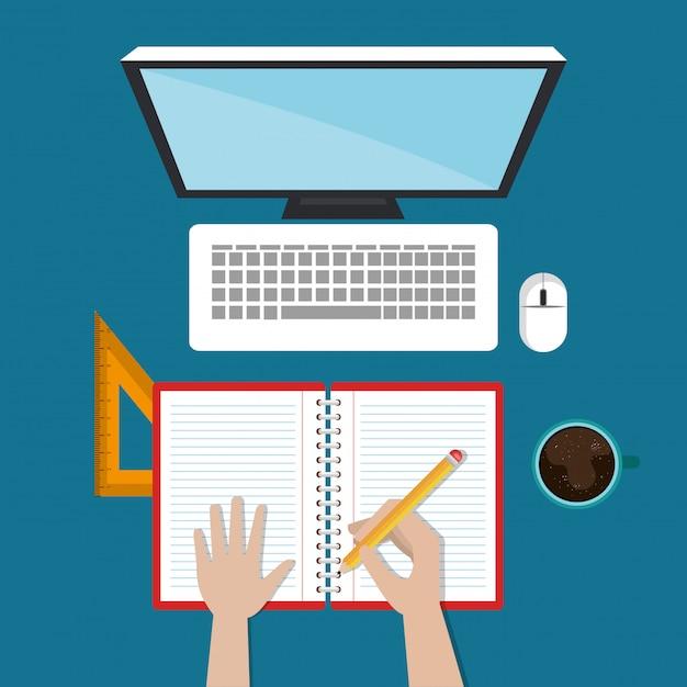 Desktopcomputer met eenvoudige e-learning Gratis Vector