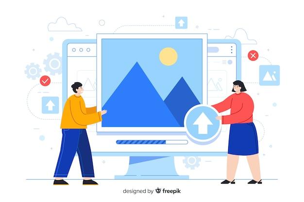 Desktopscherm met mensen die afbeeldingen uploaden Gratis Vector