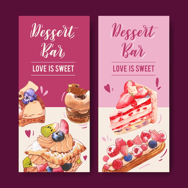 Dessert flyer ontwerp met aardbeientaart, bladerdeeg cake, donut aquarel illustratie. Gratis Vector