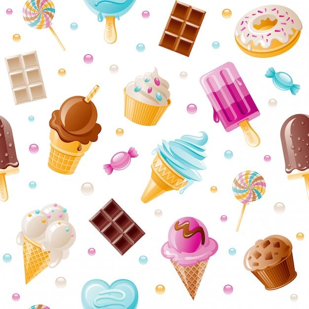 Dessert patroon. zoete cartoon naadloze achtergrond. leuke ijshoorn, snoep, cupcake, donut, chocoladebehang. Premium Vector