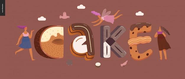 Dessert verleiding lettertype Premium Vector
