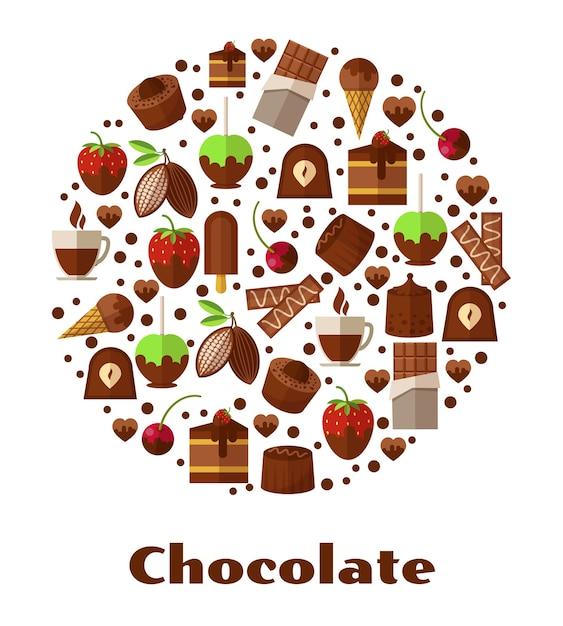 Desserts en delicatessen, chocoladevoedsel in ronde vormillustratie Gratis Vector