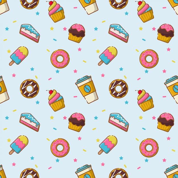 Desserts naadloos patroon Premium Vector