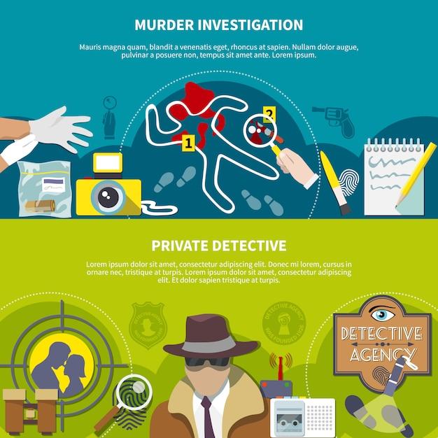 Detective gekleurde banner set Gratis Vector