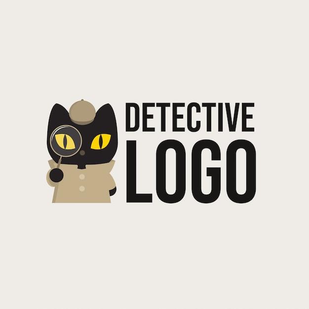 Detective zwarte kat logo Premium Vector