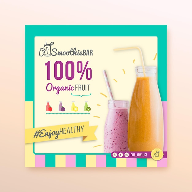 Detox biologische smoothie bar vierkante flyer Gratis Vector