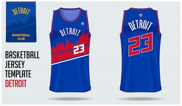 Detroit basketbal jersey sjabloonontwerp Premium Vector
