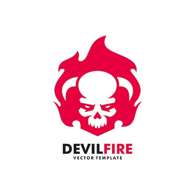 Devil fire illustratie vector ontwerpsjabloon Premium Vector