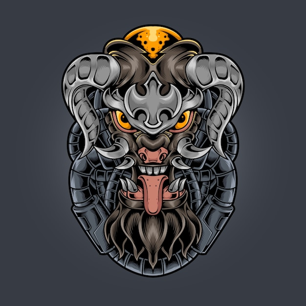 Devil monster fang en gehoornde illustratie Premium Vector