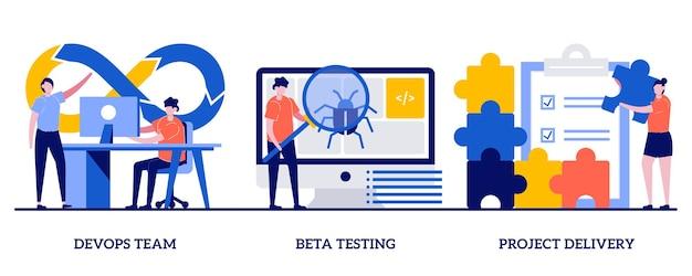 Devops-team, bètatesten, projectopleveringsconcept met kleine mensen. softwareontwikkeling en technologieanalyse set. teamwork programmeren, kwaliteitsborging. Premium Vector
