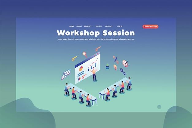 Deze mensen studeren in een webpagina van een workshop sessie koptekst bestemmingspagina sjabloon illustratie Premium Vector