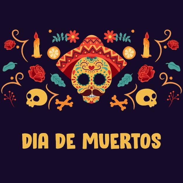 Día de los muertos-achtergrond met kleurrijke elementen Premium Vector