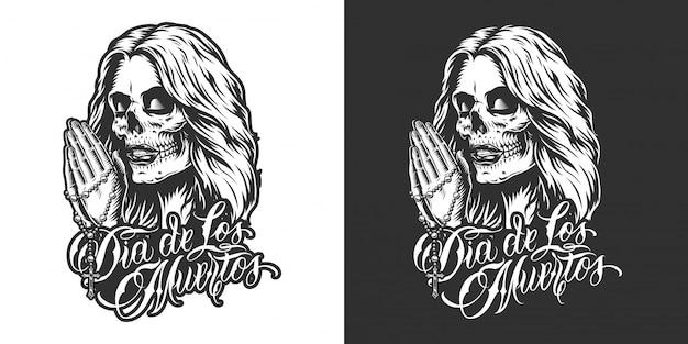 Dia de los muertos-badge Gratis Vector