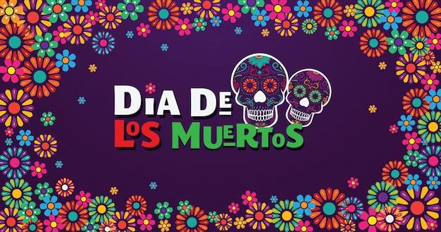 Dia de los muertos banner, schedel versierd met kleurrijke bloemen Premium Vector