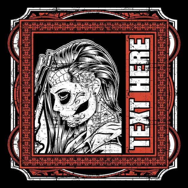 Dia de los muertos, dag van de doden of halloween-wenskaart, uitnodiging, banner. Premium Vector