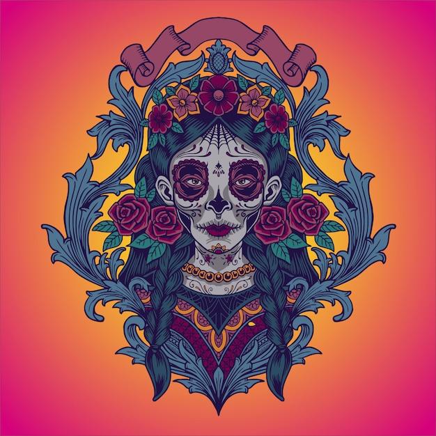 Dia de los muertos. illustratie van mexicaanse catrina Premium Vector