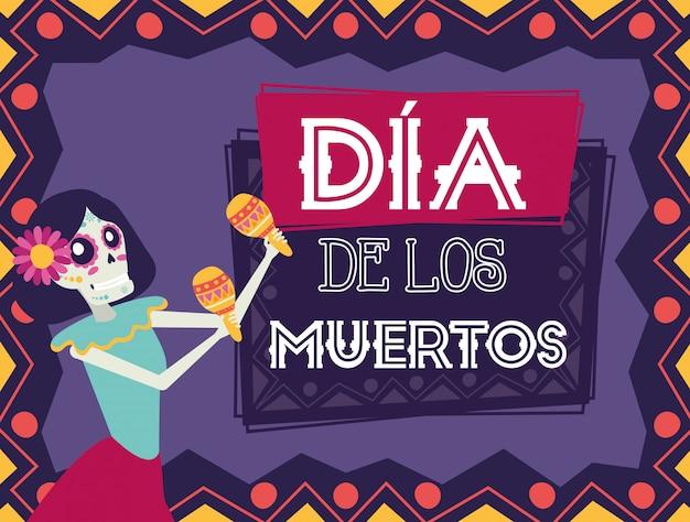 Dia de los muertos kaart met catrina maraca's spelen Premium Vector