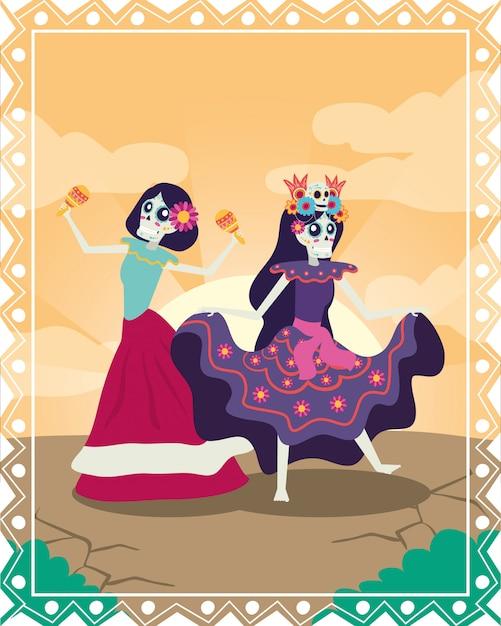 Dia de los muertos-kaart met catrinas die maracas-personages spelen Premium Vector