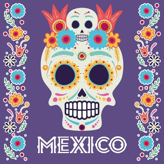 Dia de los muertos-kaart met hoofdschedel en bloemen Premium Vector