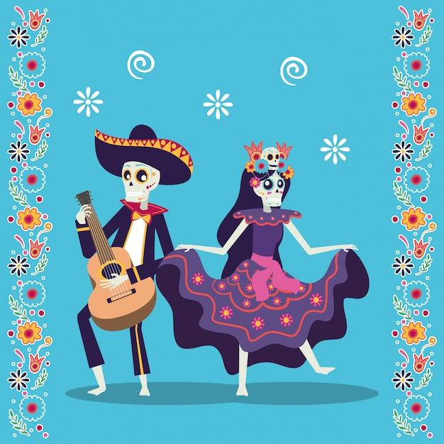 Dia de los muertos-kaart met mariachi gitaar en catrina Premium Vector