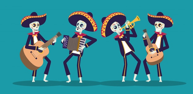 Dia de los muertos-kaart met mariachis-schedels die instrumenten spelen Premium Vector