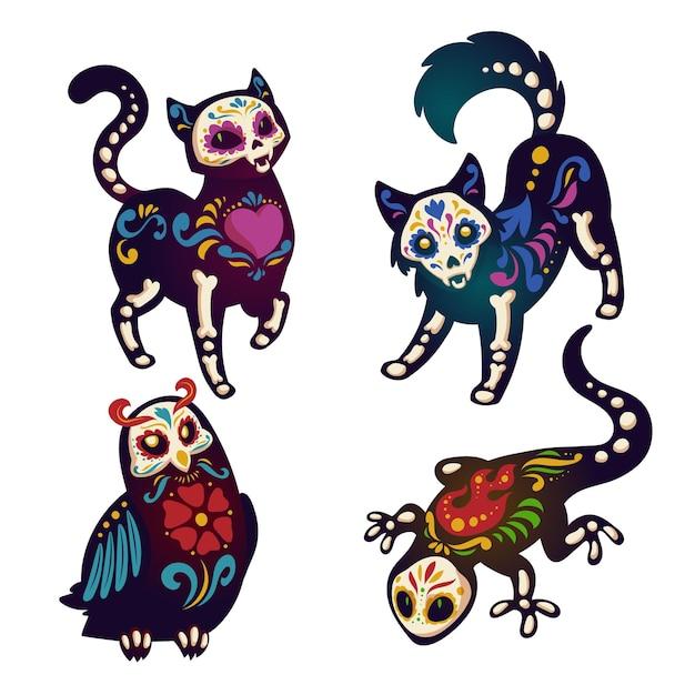 Dia de los muertos met skeletten van dieren Gratis Vector