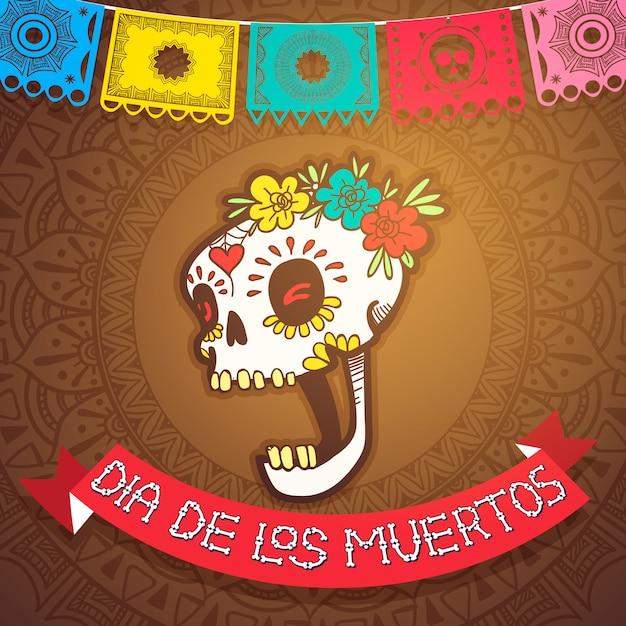 Dia de los muertos mexicaans vakantiefeest en day of dead-feest Premium Vector