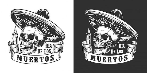 Dia de los muertos monochroom label Gratis Vector