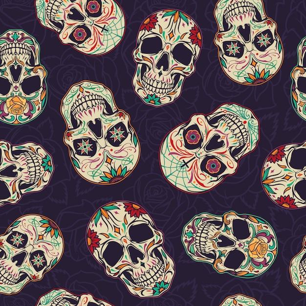 Dia de los muertos naadloos patroon Gratis Vector