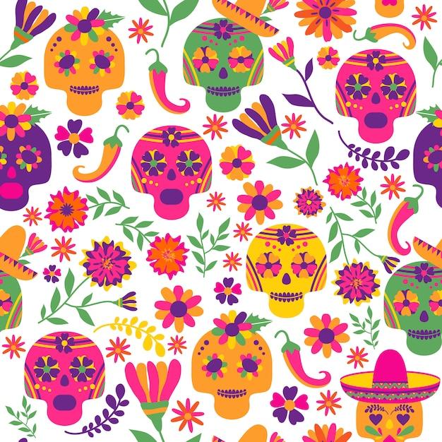 Dia de los muertos naadloos vectorpatroon. de belangrijkste symbolen van de vakantie op de donkere ba Premium Vector