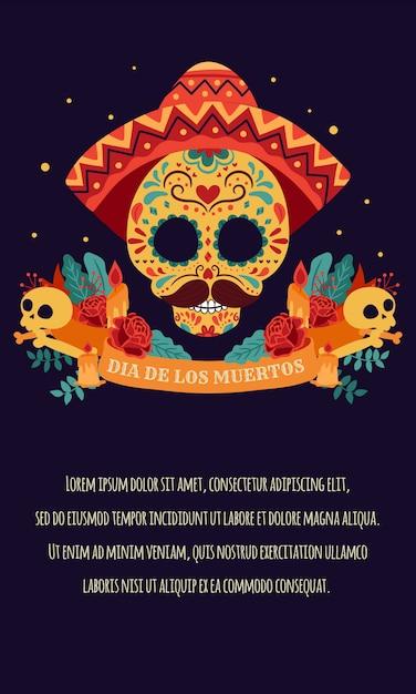 Día de los muertos-poster met kleurrijke mexicaanse bloemen Premium Vector