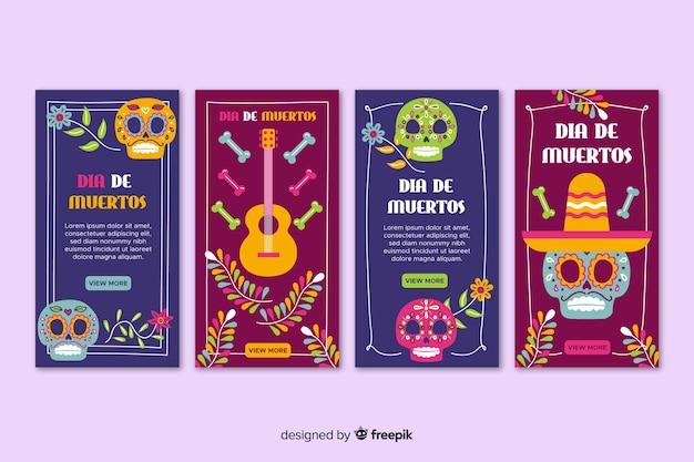 Día de muertos instagram kaartenverzameling Gratis Vector