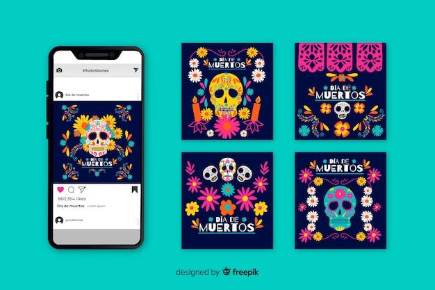 Dia de muertos instagram postverzameling Gratis Vector