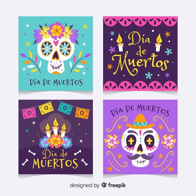 Día de muertos instagram postverzameling Gratis Vector