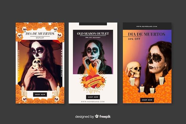 Día de muertos interactieve berichten op sociale media Gratis Vector