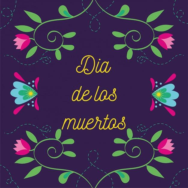 Dia de muertos kaart belettering met bloemen tuindecoratie Gratis Vector