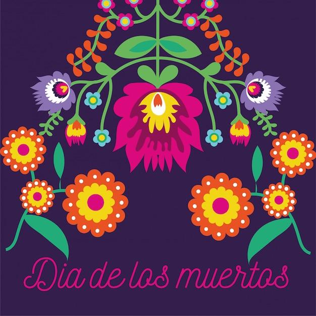 Dia de muertos kaart belettering met bloemen Gratis Vector