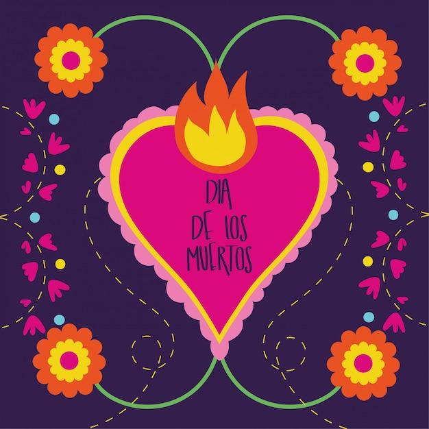 Dia de muertos-kaart met hartvlam en bloemen Gratis Vector