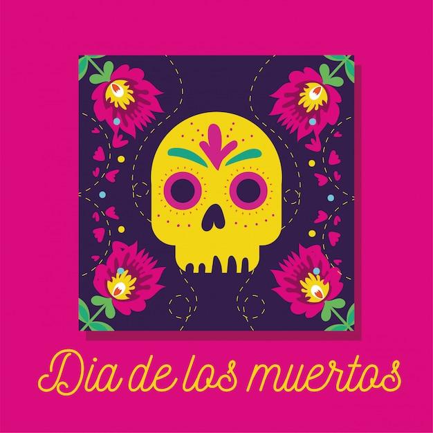 Dia de muertos-kaart met letters en schedel Gratis Vector